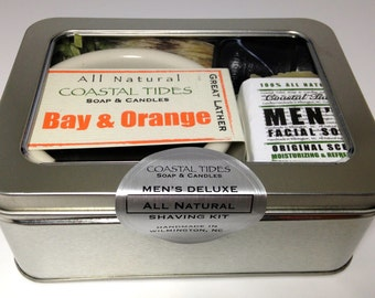 Valentine's Gift for Husband - Shave Kit - Mens Shaving Kit - Shave Soap - Shave Brush - Shaving Brush - Bowl - Bay & Orange