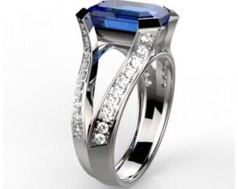 Diamond/Sapphire engagement ring