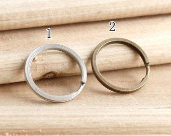 20Pcs 30mm Round Key Ring / Antique Brass / Sliver