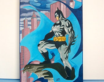 Batman Canvas, Acrylic Painting for Kids Rooms or Playrooms, Art for Kids, 35x50 cm