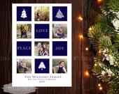Block Style Christmas Holiday Card 5x7-4x6 -Holiday-Printable-Red-Blue-Green-5x7-Custom-You Print-Christmas Card