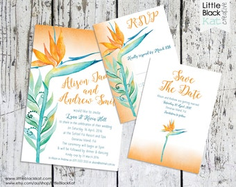 Wedding Invitation OR Save The Date OR RSVP  | Tropical Bird of Paradise | Personalised Digital File