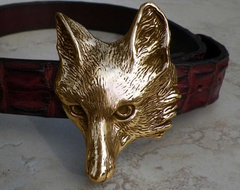 Cavalli Del Mar Huge Designer Bronze Fox Belt Buckle Heavy Impressive