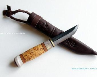 60mm Handmade Pocket Puukko Bushcraft/Survival Knife-Reindeer Antler-Carbon Steel Blade -Scandicraft Finland