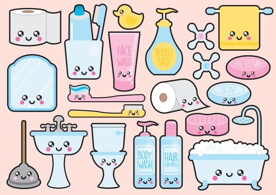 premium vector clipart kawaii bathroom clipart kawaii