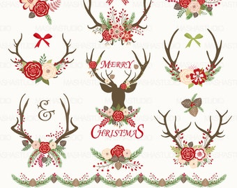 """Christmas clipart: """"CHRISTMAS ANTLERS"""" with antler clipart, christmas antler clipart, floral christmas, 15 images, 300 dpi, PNG files"""