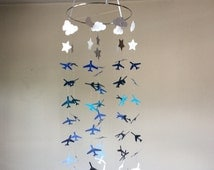 Baby nursery Airplane, Clouds, Stars hanging paper mobile! Blue ombre Crib Mobile. Teen/Tween mobile. Birthday decor, photo prop
