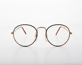 Preppy Polo Style Round Clear Glass Lens Vintage Glasses with Tube Temples -Alex