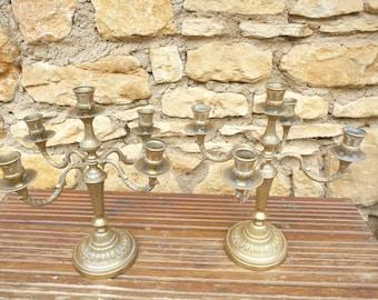 2 antique English, Bronze candlesticks