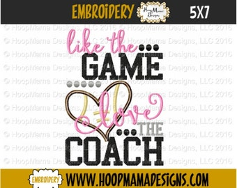 Football Embroidery Design, Like The Game Love The Coach , Football Applique 4x4 5x7 6x10, Sports Machine Embroidery