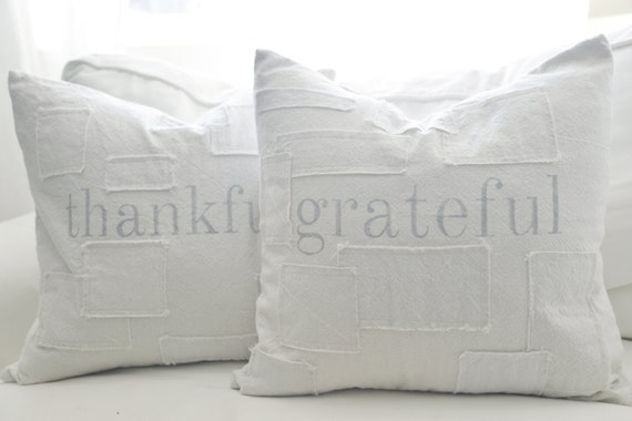 Grateful grain sack style pillow cover. available in 16x16, 18x18, 20x20, 16x26 or custom. patches optional.