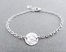 Hammered silver disc bracelet, dainty silver bracelet, hammered silver bracelet, stacking or layering bracelets, sterling silver