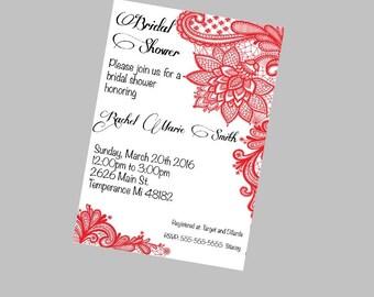 Elegant Flower Bridal Shower Invitation