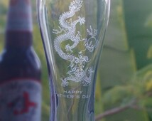 Beer Glass, Father's day gift,21th, 30th, 40th, 50th, 60th, Birthday gift, Engraved Personalised Beer glass, Dragon design, Pilsner, Custom