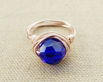 Rose Gold Ring- Gift For Her- Electric Blue Crystal Ring- Crystal Jewelry- Crystal Wire Wrapped Ring- Blue Crystal Ring- Electric Blue Ring