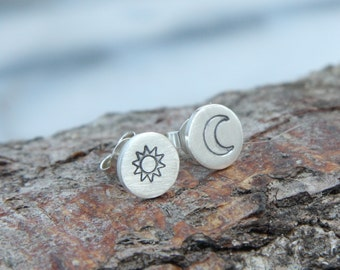 "Earrings 925 Silver ""Sun & Moon"" Sterling Silver"