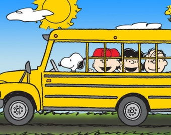 Snoopy, Driving The School Bus with, Charlie Brown, Lucy, Linus, and Woodstock, Fridge Magnet, NEW LARGER SIZE !!