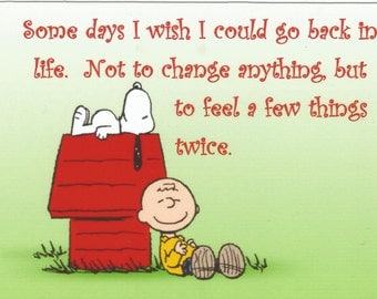 Charlie Brown, Snoopy, Refrigerator  Magnet, Some days I wish I could go back in life...        NEW Larger size !!