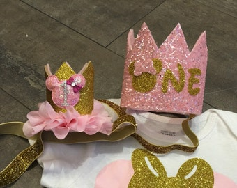 Minnie mouse inspired Large Pink and gold birthday crown headband, or pink and gold crown with name for first birthday