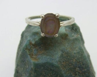 SALE Abalone Sterling Silver Ring, size 8.