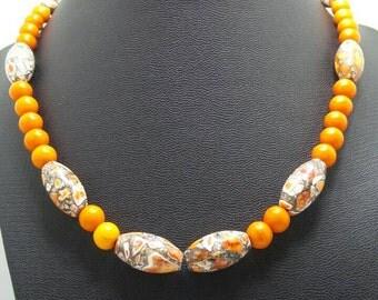 Handmade Orange Mosaic Turquoise Beaded Necklace.