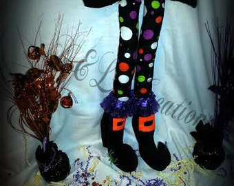 Polka Dots Halloween Bendable Witch Legs