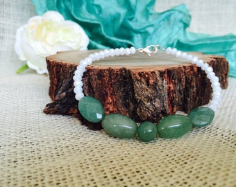 Gemstone Bracelet - Crystal Bracelet - Adventurine Bracelet - Gemstone Jewellery - Green Jewellery - Adventurine and Czech Crystal Bracelet
