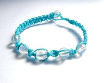 Blue transparent irredescent macrame bracelet