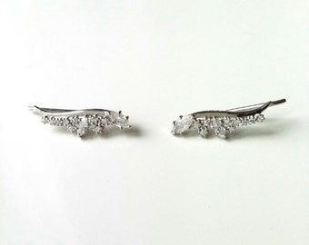 Buckles of ears, barettes, ear cuff, Sterling Silver 925 and zirconiums - rising on lobes - 925 silver earrings, zirconiums