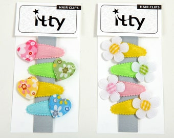 Handmade set of 4 pastel fabric assorted baby hair clips, toddler hair clips, girls hair clips - YOU PICK.
