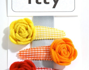 Handmade 3 fabric girls hair clip set, toddler hair clip set with gingham clips and felt matching flowers.