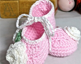 Rosebud, Ankle Tie Crochet Baby Shoes