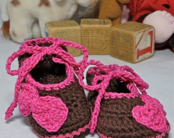 Ankle Tie Crochet Baby Shoes