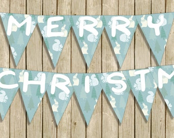 printable Merry Christmas banner digital download winter woodland nursery instant download modern blue and white contemporary home decor