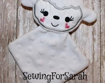 Digital Download  Lamb Minky Lovie Blanket In The Hoop Embroidery Machine Design for the 5x7 hoop