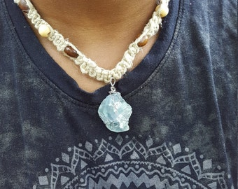 Hemp Necklace with Wire Wrapped Fluorite Crystal
