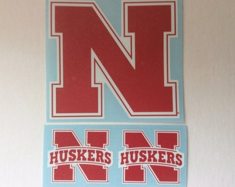 "Nebraska Cornhuskers, Red/ White N, 4"", 2- 2"" Die-Cut Vinyl Decal"