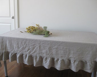 "Natural Linen Color 66"" x 90"" Linen Ruffled Table Cover"