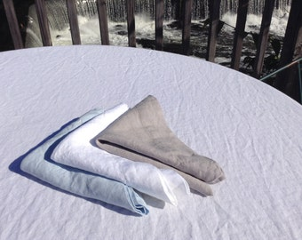 Pure White Linen Napkins - set of 4 pcs