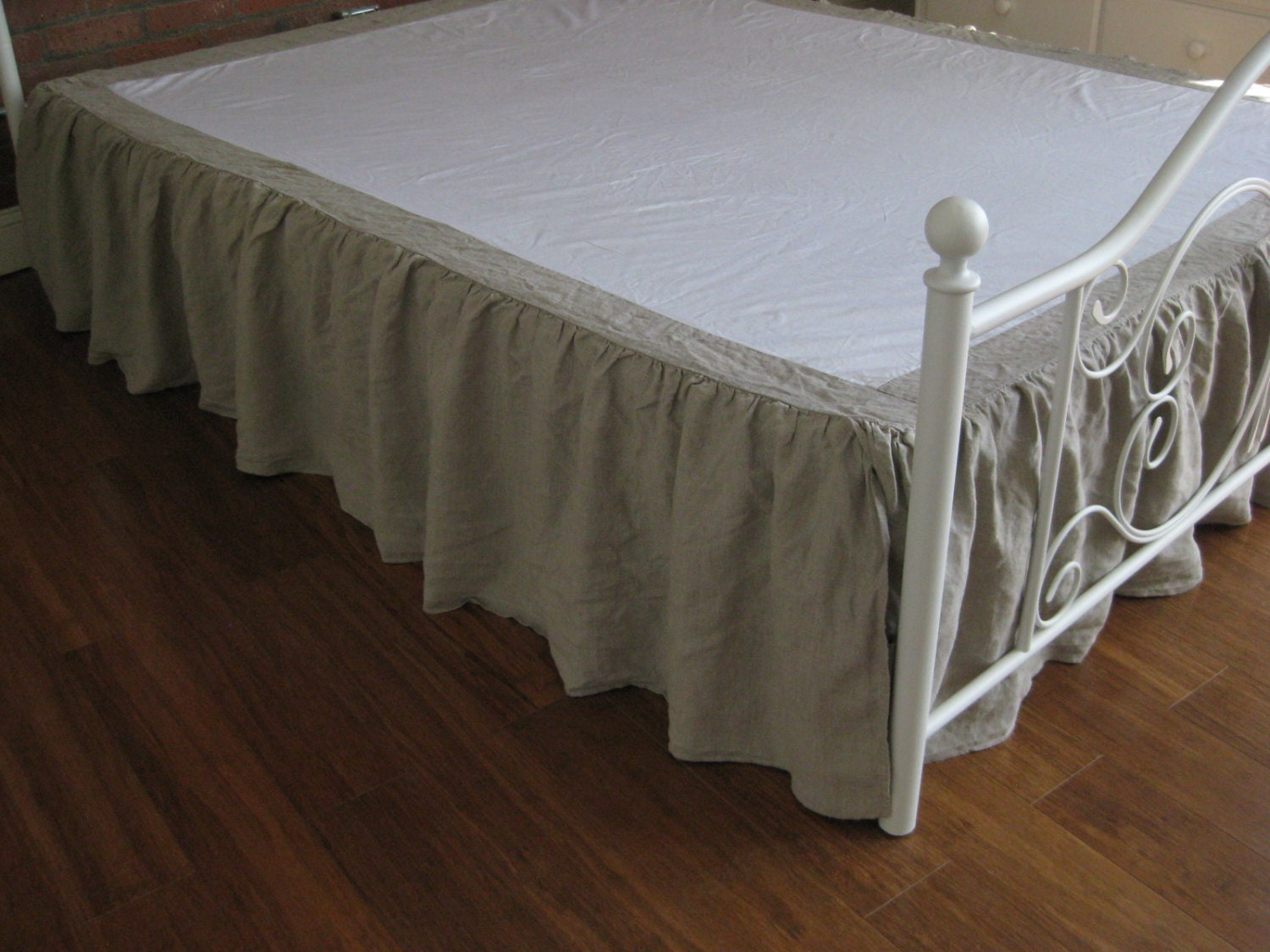 Light Grey Bed Skirt Full : Pure white queen size ruffled linen bed skirt by