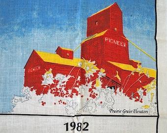 Vintage Unused Linen Tea Towel Calendar 1982 Prairie Grain Elevator / Linen Canadiana 1982 Tea Towel / Prairie Calendar Towel  / Linen Towel