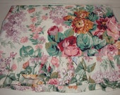 Vintage ALLISON cabbage roses Ralph Lauren Pink rose spray bedding twin sheet ruffled  fabric
