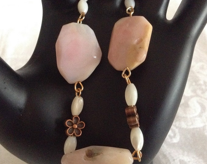 Rustic Peruvian Pink Opal Nugget Bracelet...dainty mother of pearl and petite copper flower , heart toggle bracelet
