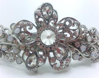 New Silver With Clear Crystal & Rhinestone Floral  3 1/2'' Hair Barrette