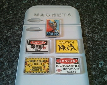 Zombie Fridge Magnet Collection. NEW. Warning Signs etc. Horror, Humour. Gift Idea