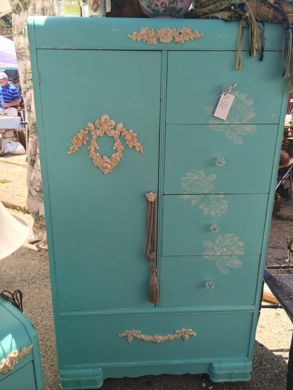 Vintage waterfall design armoire wardrobe in a by for Waterfall design etsy