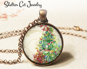 """Merry Christmas Tree Necklace - 1-1/4"""" Circle Pendant or Key Ring - Wearable Photo Art Jewelry - Artwork, Winter, Holiday, Christmas Gift"""