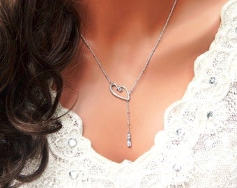 Wedding Lariat Necklace, Silver Heart and CZ Lariat, Valentine Gift, Simple and Layered