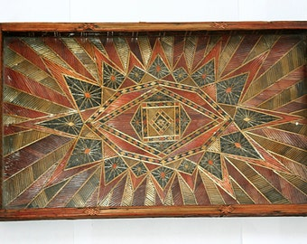 Straw Decorated Wooden Serving Tray
