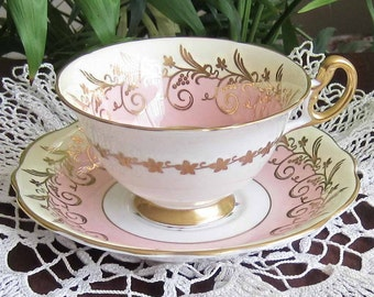 Free Shipping Foley China by E.Brain - 4122 Pink Bone China Tea Cup and Saucer - Made in England